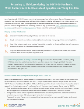Returning to Childcare During the COVID-19 Pandemic: What Parents Need to Know about Symptoms in Young Children